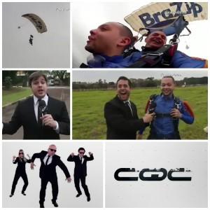 Paraquedas com marca da BraZip aparece programa CQC na Band, em salto duplo