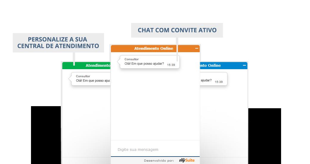 Chat flutuante com convite ativo